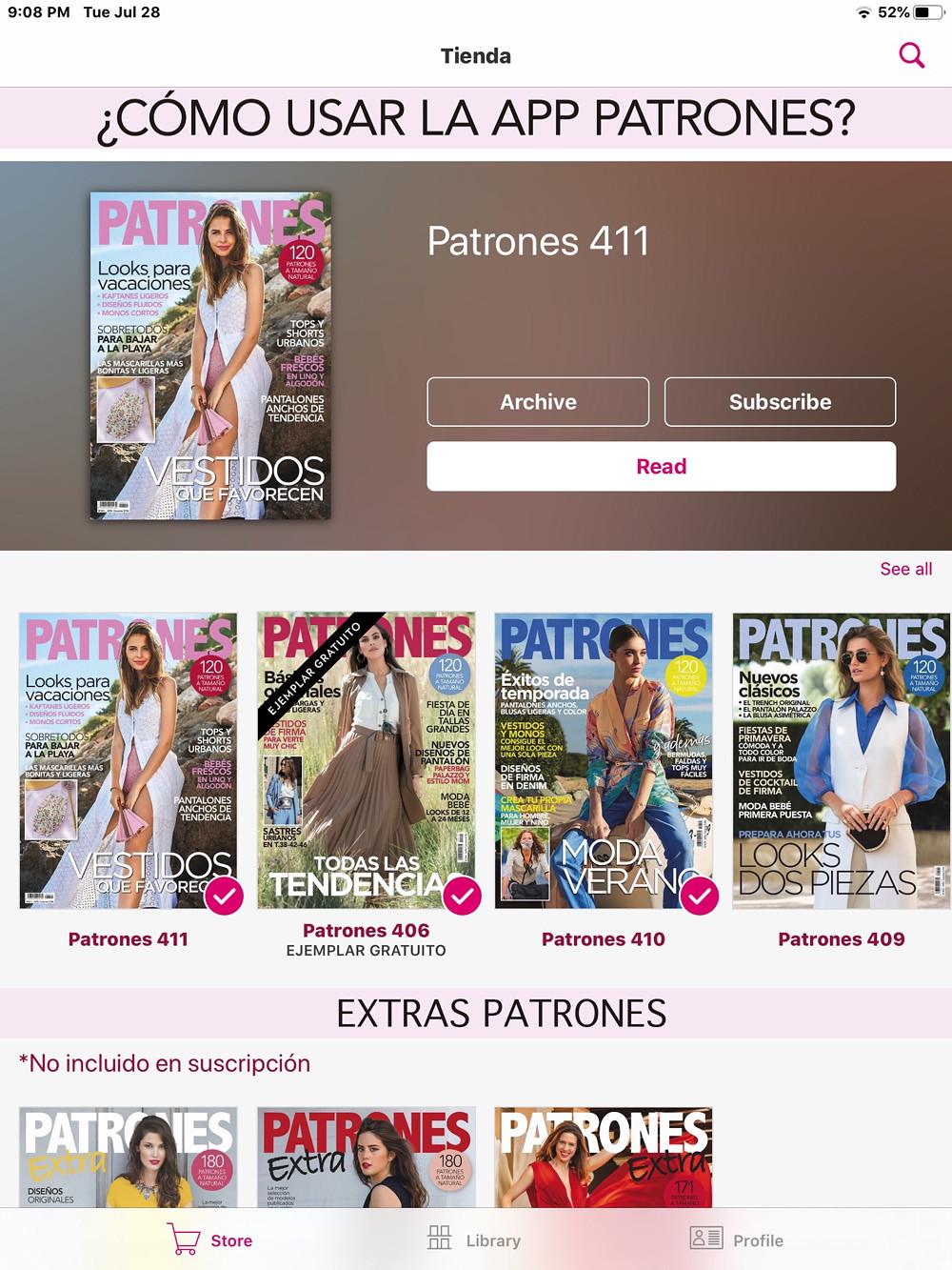Patrones app page
