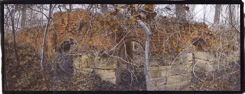 vandyke alternativeprocesses altprocess watercolor handtinted handcolored brick abandoned ruins industrial iron ironworks furnace virginia goshen rockbridgecounty