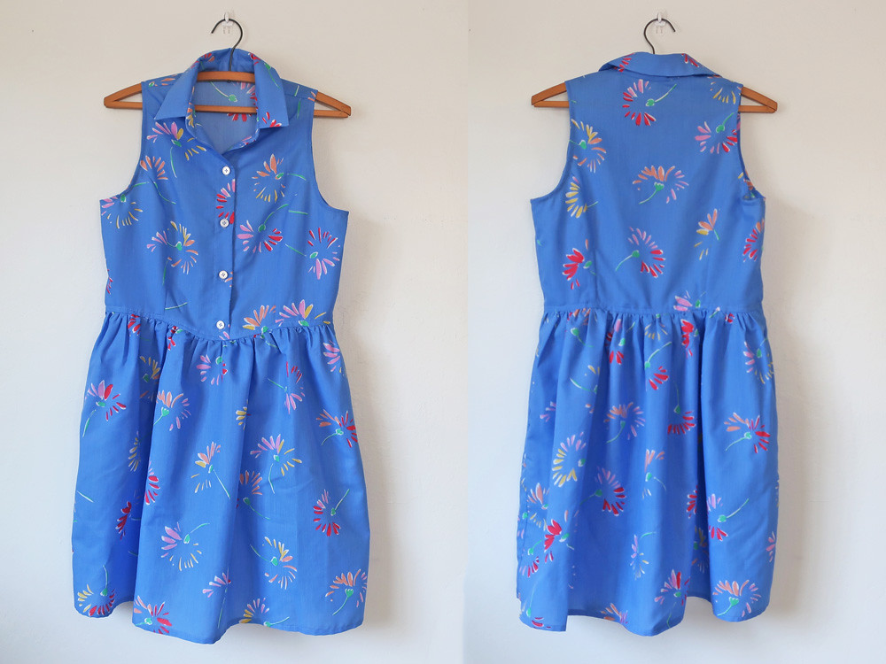 Patrones blue shirtdress front and back