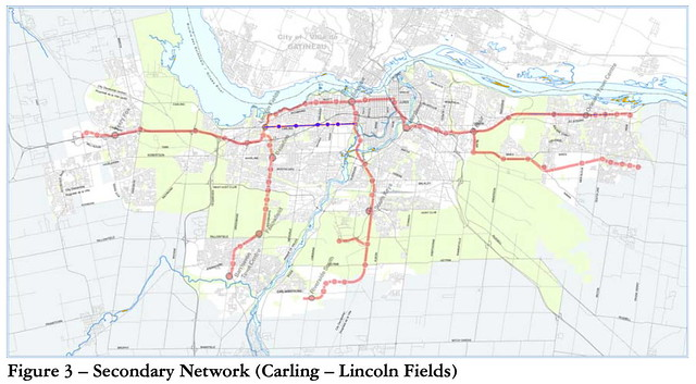 Delcan - Transit Technology Choice Report 2009 - Figure 3 Secondary Network Carling purple