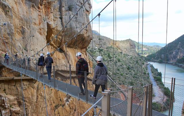 Hanging footbridge. El Caminito del Rey, Ardales, Malaga, Spain.