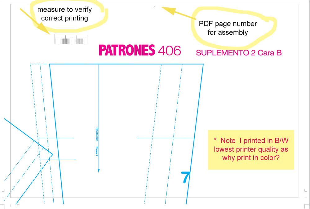 Patrones PDF printout sample page
