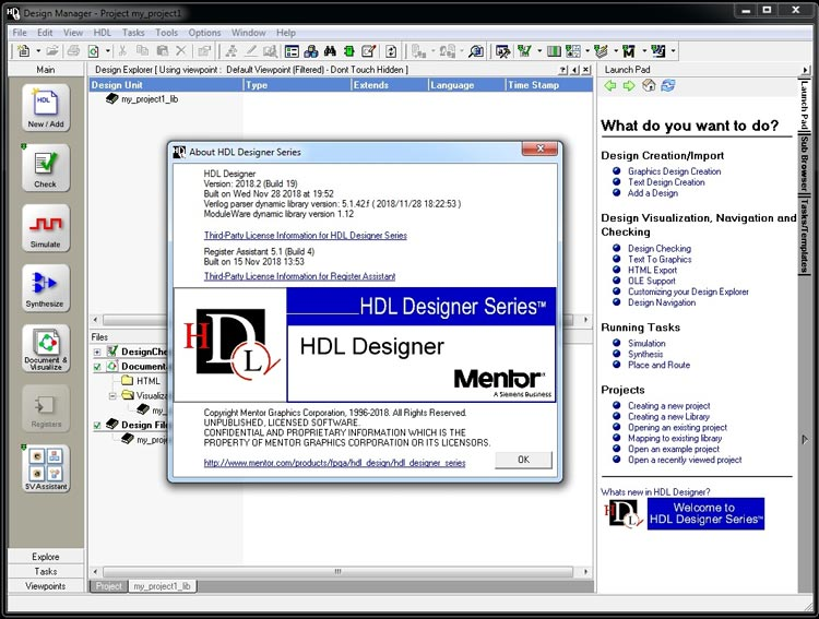 Working with Mentor Graphics HDL Designer Series (HDS) 2018.2 full