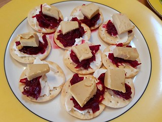 Water crackers with cream cheese, Fine Cultures Smokey Cheddar Cheese and Bruny Island Beetroot Onion Relish