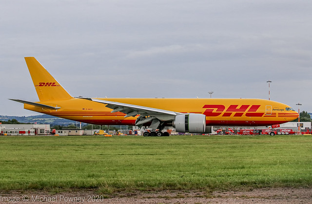 D-AALO - 2020 build Boeing B777-F, arriving on Runway 27 at East Midlands