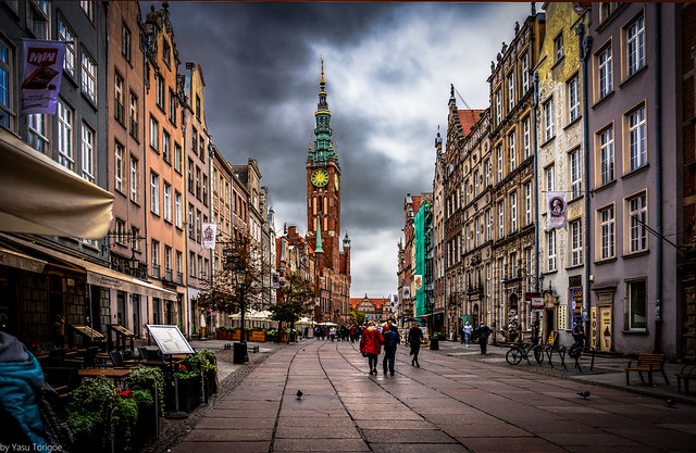 Architecture and facade of the Royal Route, Gdansk, Poland. 614-Edit
