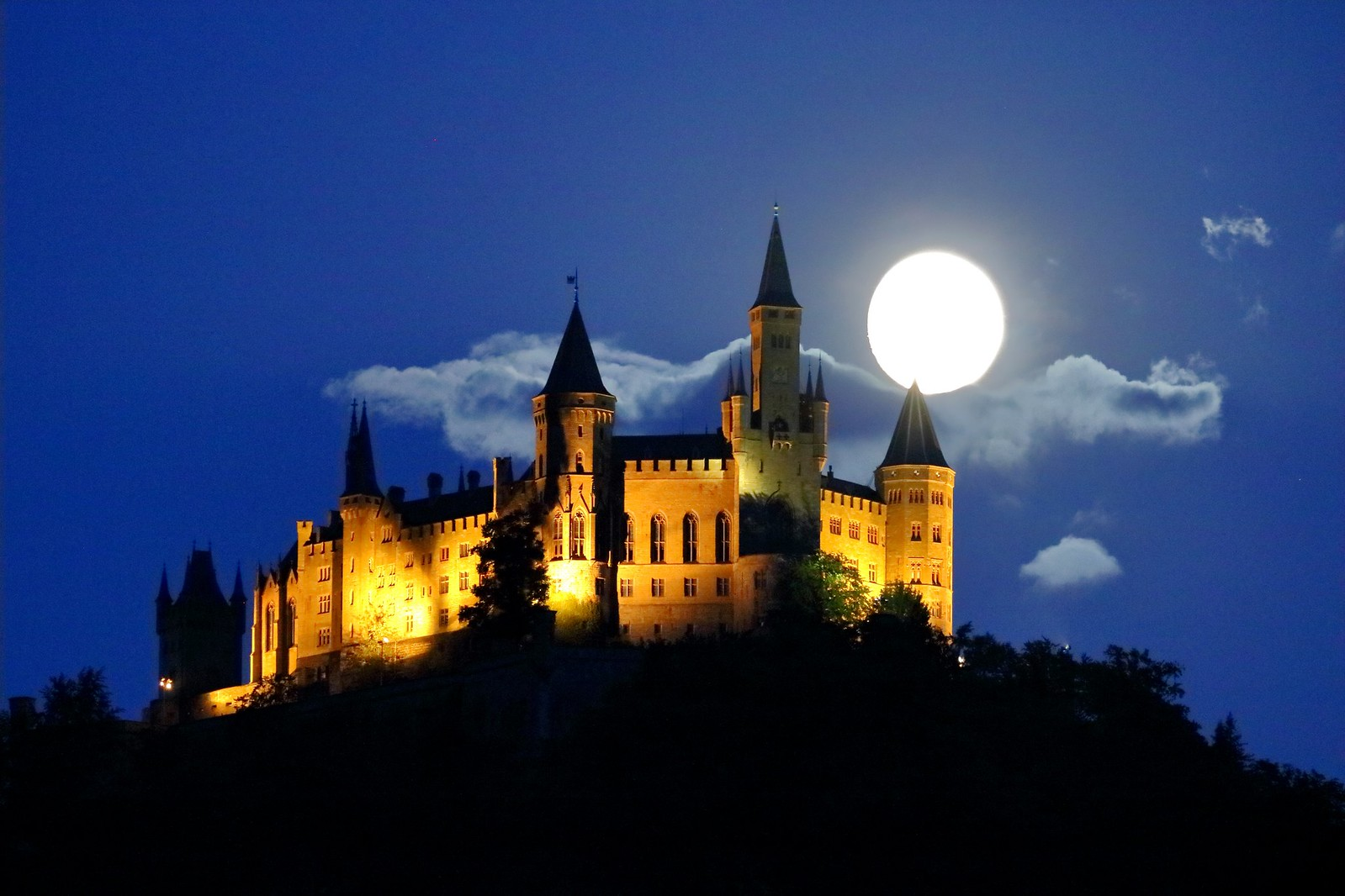 Castle Hohenzollern and full moon