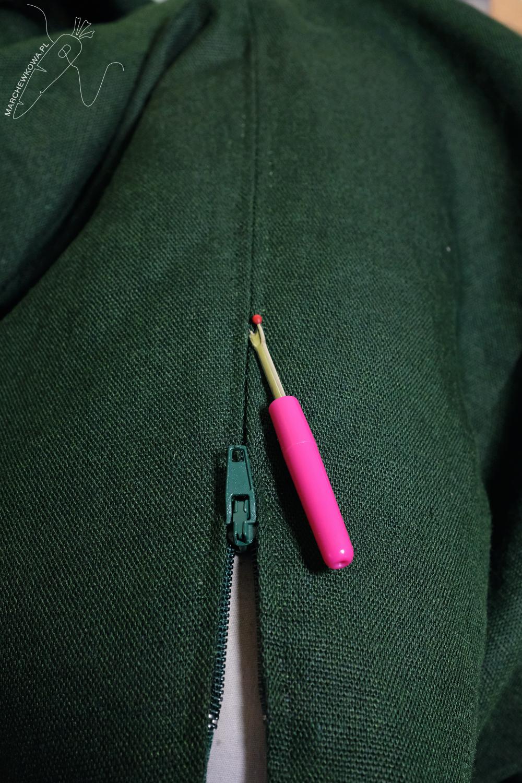tu się szyje, marchewkowa, Wrocław szyje, zamek klasyczny wszywany ręcznie, instrukcja, tutorial, hand-picked zipper on linen