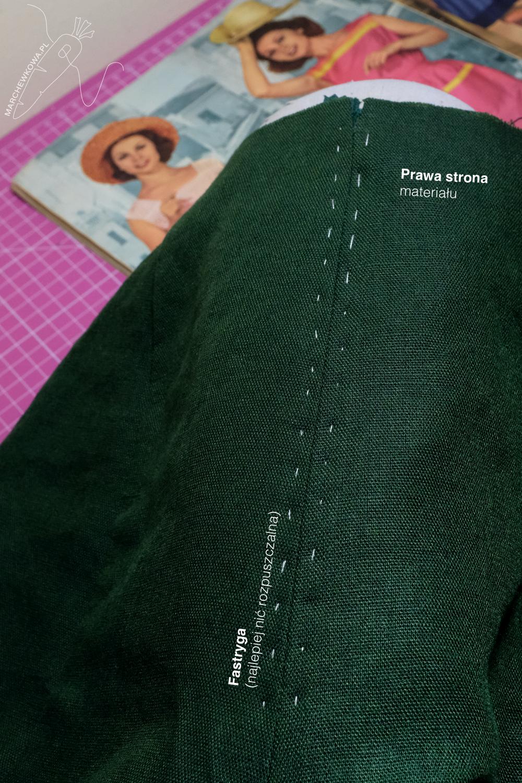 marchewkowa, Wrocław szyje, zamek klasyczny wszywany ręcznie, instrukcja, tutorial, hand-picked zipper on linen