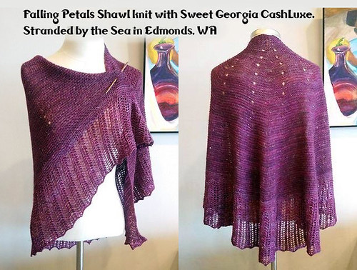 Falling Petals Shawl knit with Sweet Georgia CashLuxe by Stranded by the Sea