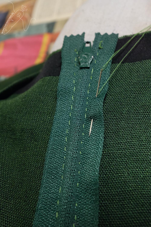 pracownia marchewkowa, Wrocław szyje, zamek klasyczny wszywany ręcznie, instrukcja, tutorial, hand-picked zipper on linen