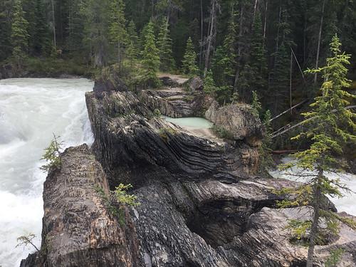 Unusual rock formations at Kicking Horse Natural Bridge Falls in Yoho National Park in BC, Canada