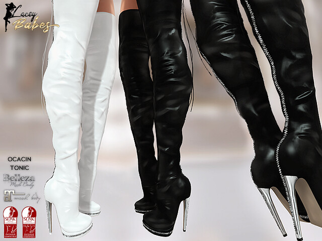 LB – Tina Thigh High Leather Boots (Black/White)
