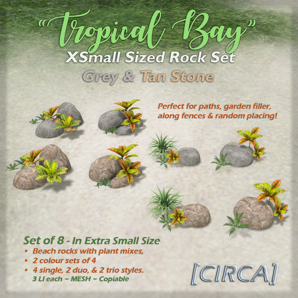 "SSS Event Item | [CIRCA] – ""Tropical Bay"" – XS Rock Set – Grey & Tan Stone"