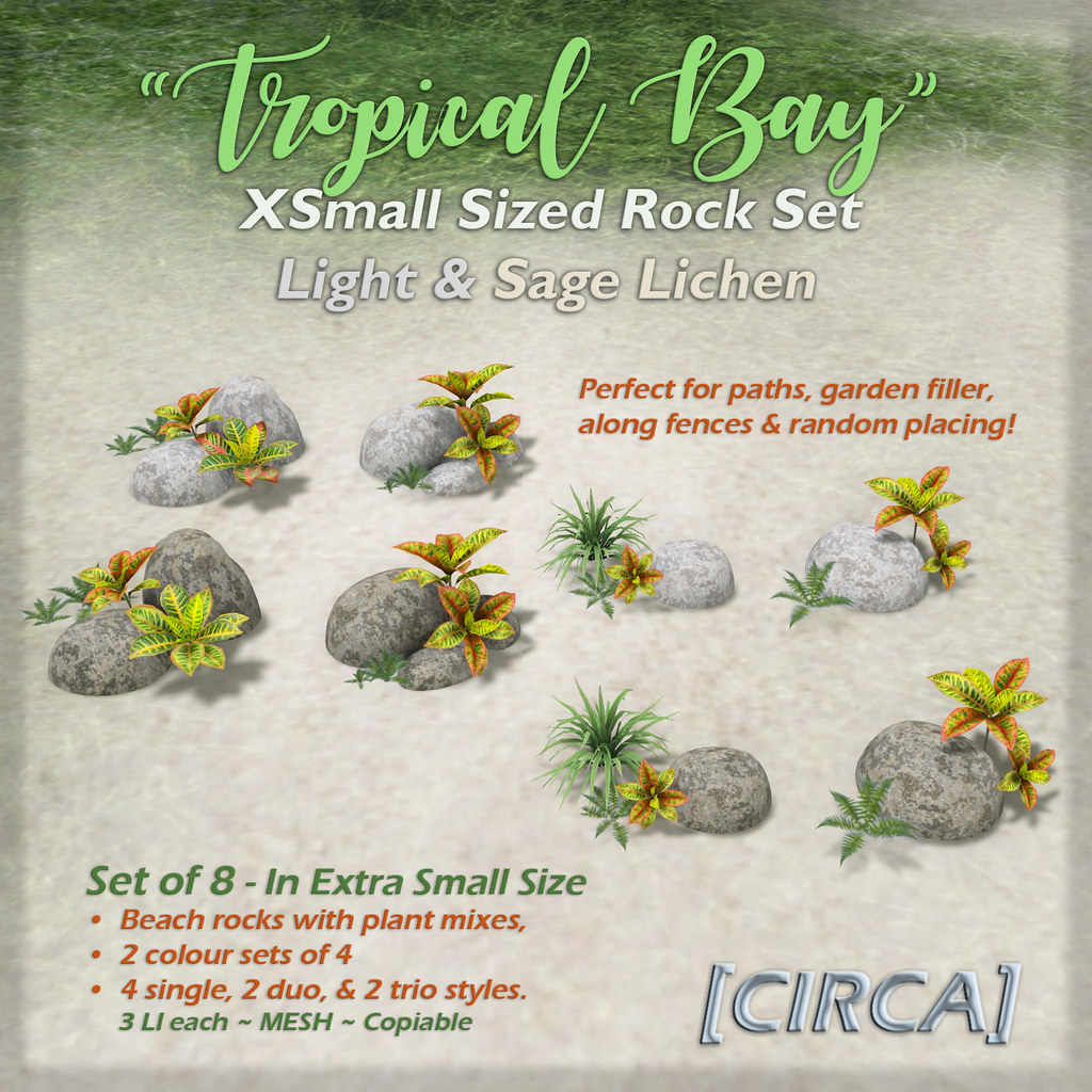 "SSS Event Item | [CIRCA] – ""Tropical Bay"" – XS Rock Set – Light & Sage Lichen"