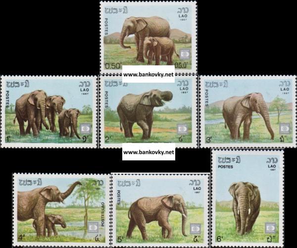 Známky Laos 1987 Slony nerazítkovaná séria MNH