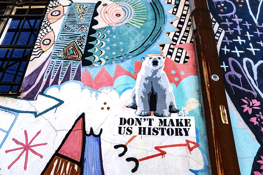 Polar bear with DON'T MAKE US HISTORY--Belgrade