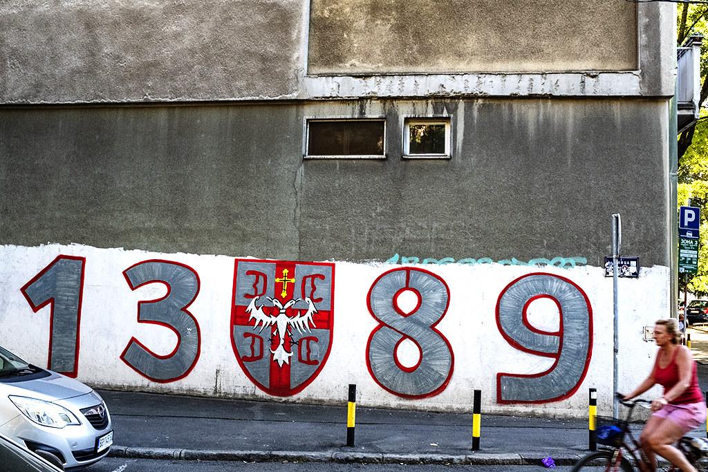 1389 on side of apartment block on 8-2-20--Belgrade