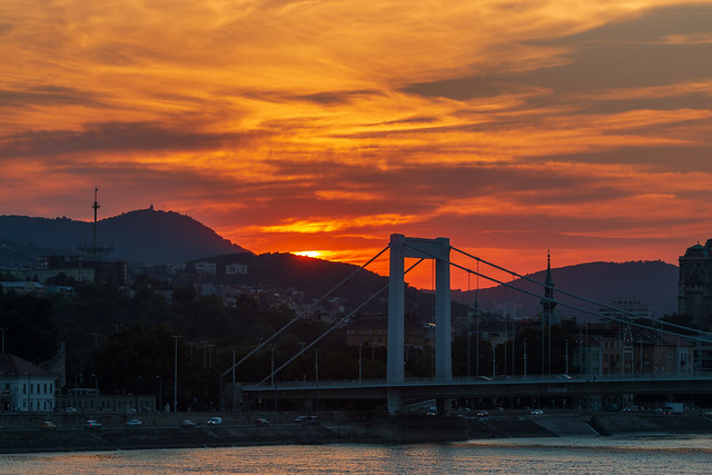 Sunset over Elisabeth bridge
