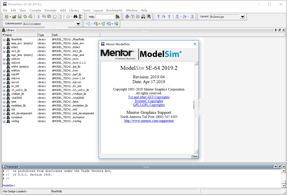Working with Mentor Graphics ModelSim SE 2019.2 full