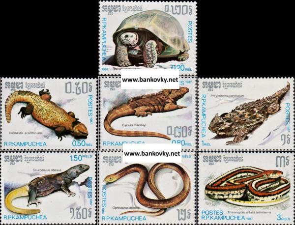 Známky Kambodža 1987 Plazy nerazítkovaná séria MNH