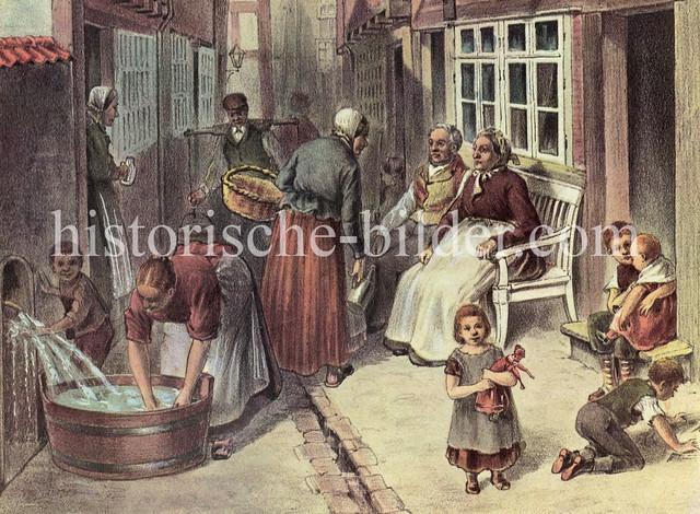 X0192797 Szene aus dem Hamburger Gängeviertel - Kinder spielen vor der Haustür, Frauen tratschen oder waschen die Wäsche in einem Waschzuber.
