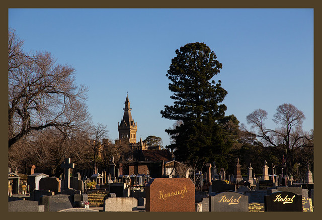 Ormond College Clocktower seen from the Melbourne General Cemetery