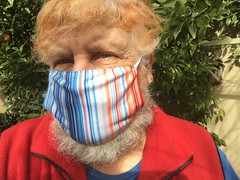 Wearing the Victorian #climatestripe face mask showing average yearly temperatures for Victoria 1901-2019