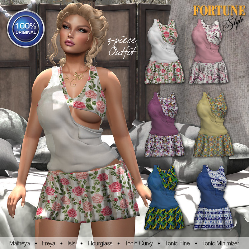 Fortune Style Dual Tops & Side Slit Skirt Ad