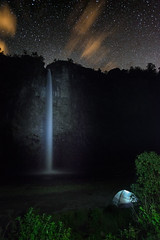 Condor Machay waterfall night-stars and tent (explored)