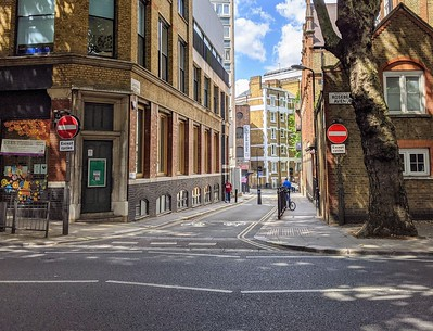 Looking into Laystall St north across Rosebery Avenue