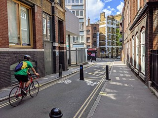Laystall St (north of Rosebery Avenue) facing north: new bollards allow for two-way cycling