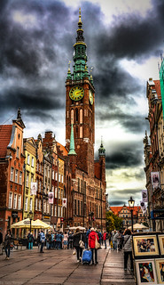 Multiphoto panorama of architecture and facade of the Royal Route and the Main Town Hall, Gdansk, Poland. 635-Pano-Edit-2a