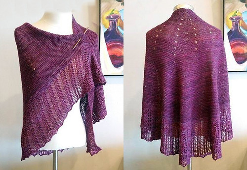 Falling Petals Shawl knit with 4ply Sweet Georgia CashLuxe by Stranded by the Sea