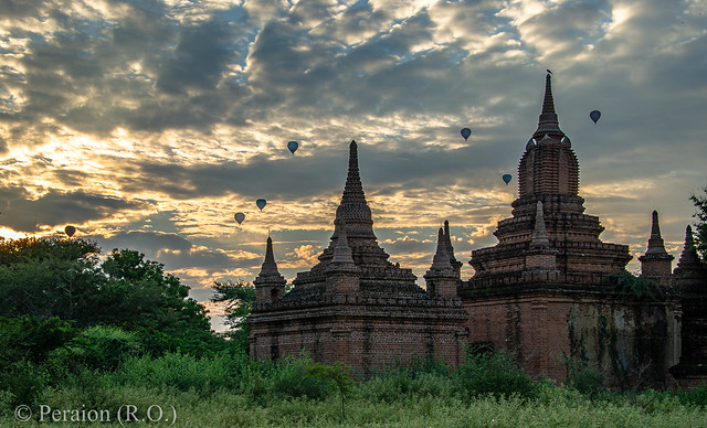 Evening among the temples at Bagan in Myanmar