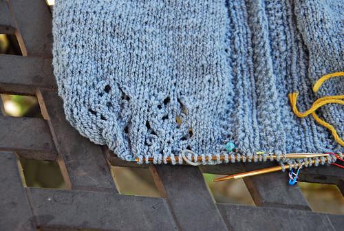 Knitting in progress of handspun Polwarth 2-ply indigo dyed wool for cardigan