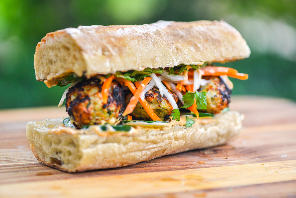 Chicken Meatball Banh Mi