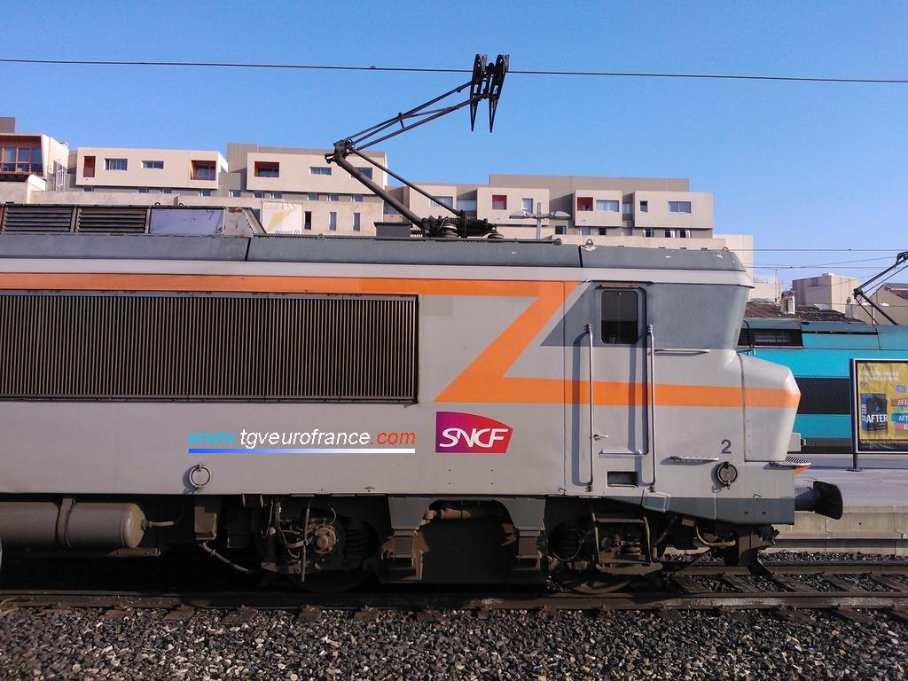 La locomotive électrique BB 7300 SNCF à Marseille Saint-Charles