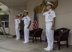 Vice Adm. Richard Brown, left; Adm. John C. Aquilino, commander of U.S. Pacific Fleet, center; and Vice Adm. Roy Kitchener salute during the singing of the national anthem to open the Naval Surface Force Pacific change of command ceremony. (U.S. Navy/MC3 Kevin C. Leitner)