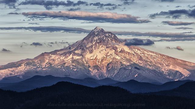 Mt. Hood with sunset light.