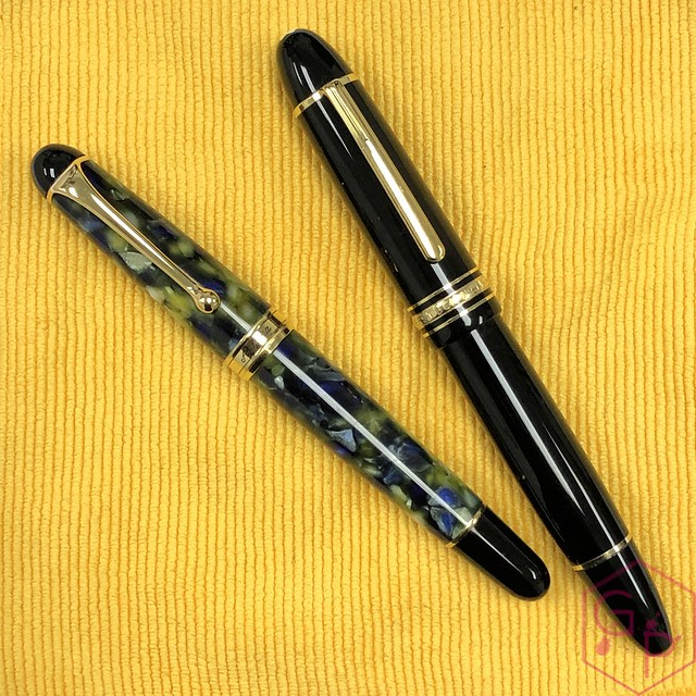 Modern Flex Fountain Pen Comparison - Montblanc 149 Calligraphy Flex vs. Aurora 88 Mottishaw Spencerian 9