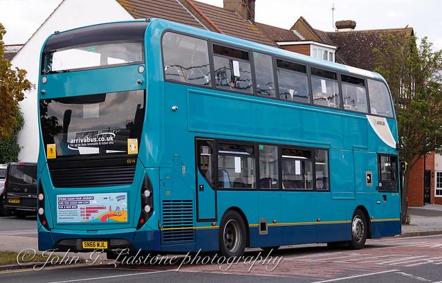 Looking like new again with no main external advertising, Arriva Kent Thameside (Southend) Alexander Dennis Enviro400 MMC 6514, SN66 WJL