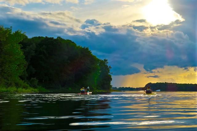 Following Kayakers...