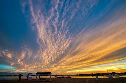 clintontownbeach connecticut hdr longislandsound nikon nikond5300 outdoor beach clouds evening geotagged ocean orange outside sand seashore shore sky sunset water