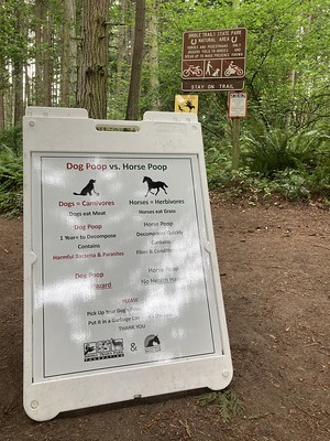 Bridle Trails dog poop vs horse poop