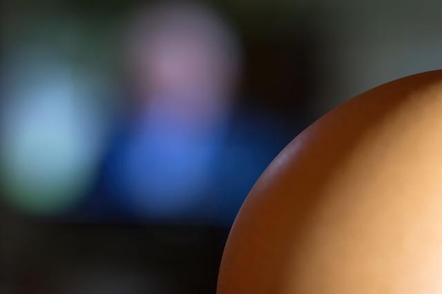 An egg watches TV