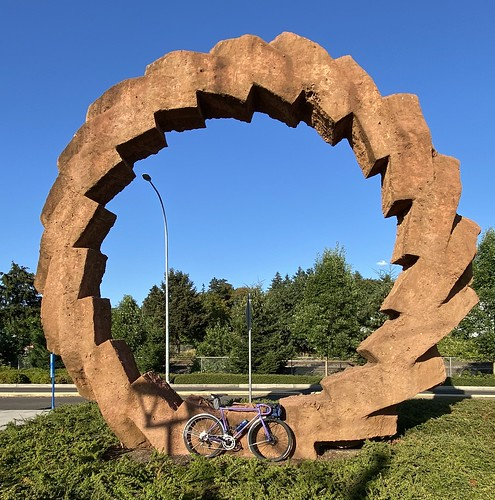 Purple bike, giant sculpture