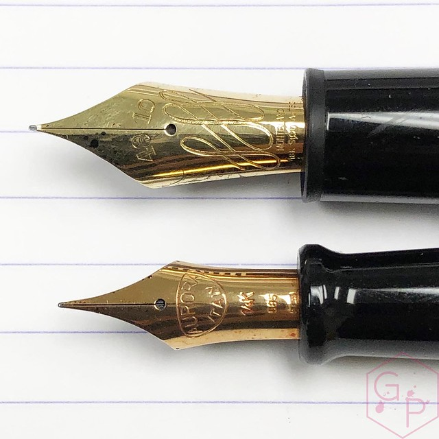Modern Flex Fountain Pen Comparison - Montblanc 149 Calligraphy Flex vs. Aurora 88 Mottishaw Spencerian 6