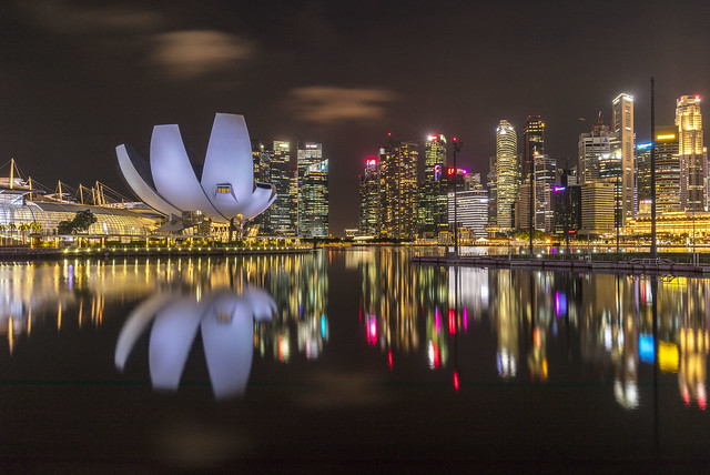 Night Reflections at Singapore Marina Bay