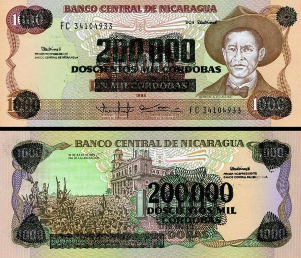 200 000 Cordobas Nikaragua 1985, P162